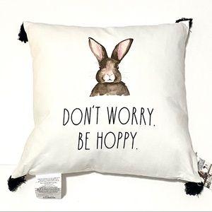 "NEW Rae Dunn ""DON'T WORRY. BE HOPPY."" Bunny PILLOW"